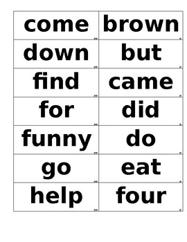 Dolch Word Flashcards Dyslexic  72 font in black