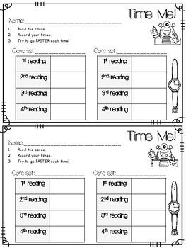 Dolch Word Fluency & ABC:  Time Me!  Back to School