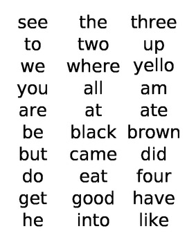 Dolch Word Labels Pre-Primer Primer 1st