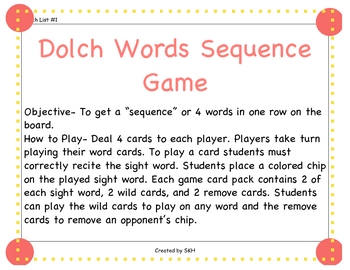 Dolch Word List 1 Sequence Game