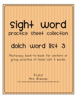 Dolch Word List 3 Practice Pack
