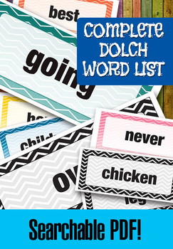 "Dolch Word List Complete – 220 Words and 95 Nouns – 8 x 3.5"" – Searchable PDF"