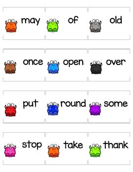 Dolch Word List First Grade Monster Themed Flashcards