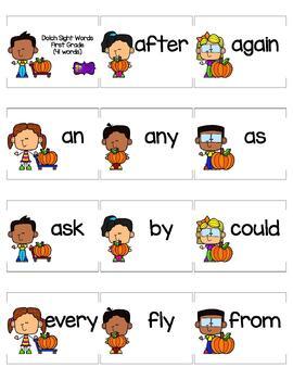 Dolch Word List First Grade Pumpkin Themed Flashcards