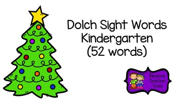 Dolch Word List Kindergarten Christmas Tree Themed Flashcards