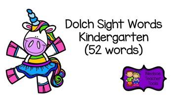 Dolch Word List Kindergarten Unicorn Themed Flashcards