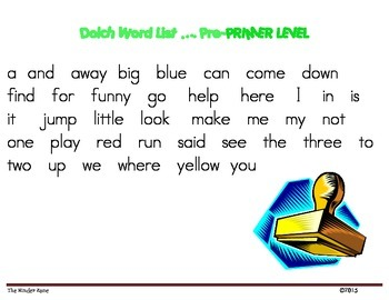 Dolch Word List * Pre-Primer Level *** Word Work Stamp & Write