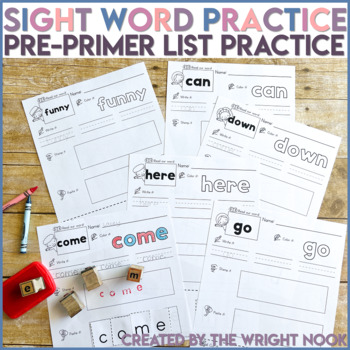 Dolch Word List Pre-Primer Sight Word Practice (40 WORDS)