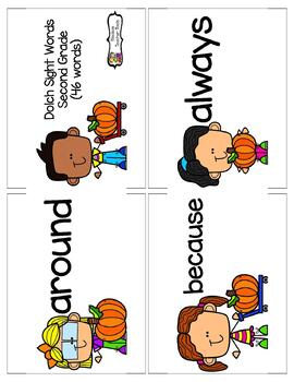 Dolch Word List Second Grade Pumpkin Themed Flashcards