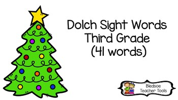 Dolch Word List Third Grade Christmas Tree Themed Flashcards
