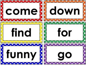 Dolch Word List Word Wall Cards Bundle (Polka Dot)