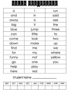 Dolch Word Data Sheets/ Sight Words/ Progress Monitoring Sheets / PK-Grade2