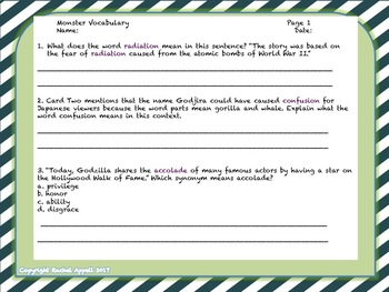 Dolch Word Monster Movie Fluency Cards
