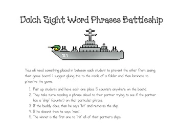 Dolch Word Phrases Battleship Game: Phrases 97-112