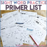 Sight Words - Dolch Word List PRIMER Practice Distance Learning