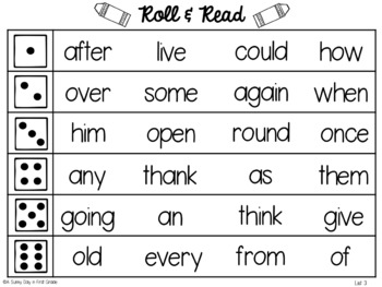 Sight Word Roll & Read!