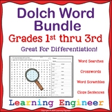 Dolch Bundle - Word Searches, Crosswords, Scrambles, Cloze Sentences