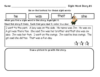 Dolch Word Sentences: 100 Primer and First Grade Words