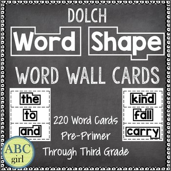 Dolch Word Shape Word Wall Flash Cards