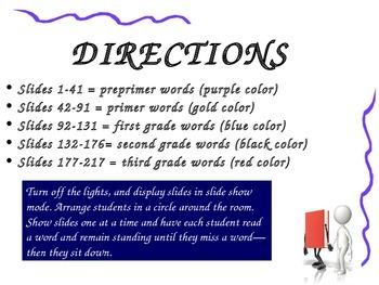 Dolch Word Slides PreK-3