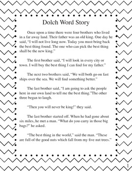 Dolch Word Story