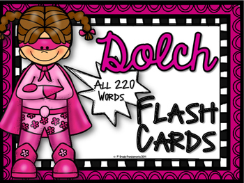 Dolch Sight Words Flash Cards (Super Hero)