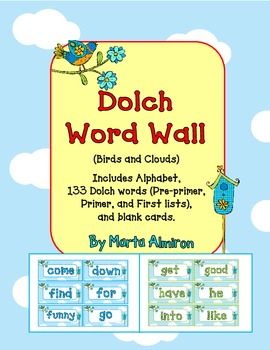 Dolch Word Wall - Birds and Clouds