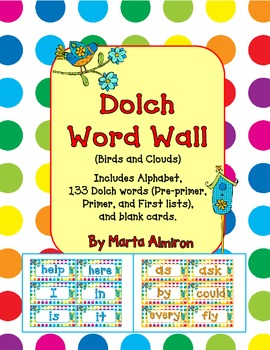 Dolch Word Wall - Birds and Dots