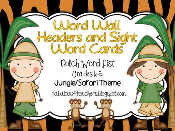 Dolch Word Wall Cards and Header Cards {Jungle/Safari Theme} Editable