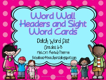 Dolch Word Wall Cards and Header Cards {Melon Headz Theme} Editable