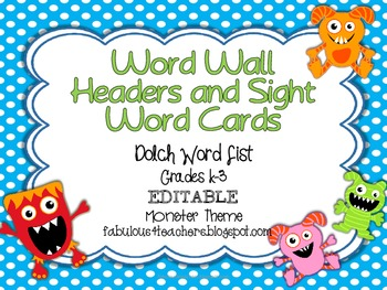 Dolch Word Wall Cards and Header Cards {Monster Theme} Editable