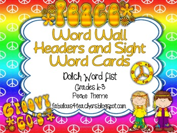 Dolch Word Wall Cards and Header Cards {Peace Theme} Editable