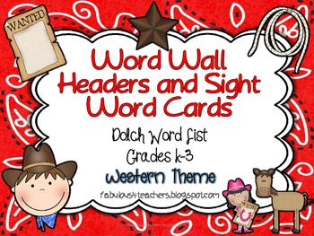 Word Wall Cards and Header Cards {Western Theme} Dolch  Words & Editable Boxes