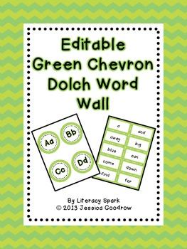 Dolch Word Wall - Green Chevron {Editable}