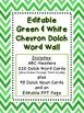 Dolch Word Wall - Green & White Chevron {Editable}