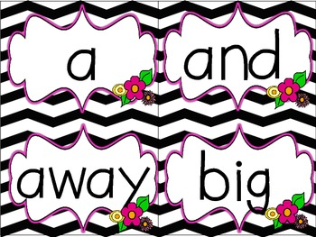 Dolch Word Wall Header Cards and Word Cards  {Black&White Chevron}