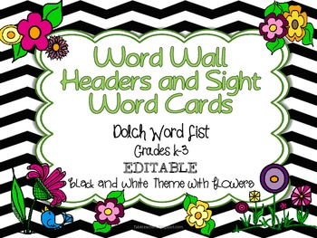 Dolch Word Wall Header Cards and Word Cards  {Black&White