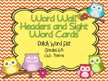Dolch Word Wall Header Cards and Word Cards  {Owl/Chevron Theme}