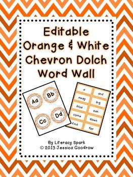 Dolch Word Wall - Orange & White Chevron {Editable}
