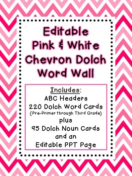 Dolch Word Wall - Pink & White Chevron {Editable}