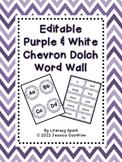 Dolch Word Wall - Purple & White Chevron {Editable}