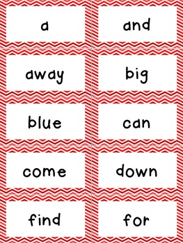 Dolch Word Wall - Red & White Chevron {Editable}