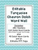 Dolch Word Wall - Turquoise Chevron {Editable}