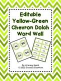 Dolch Word Wall - Yellow Green {Editable}