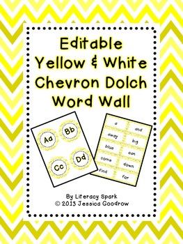 Dolch Word Wall - Yellow & White Chevron {Editable}