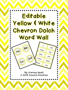 Dolch Word Wall - Yellow & White Chevron {Editable}