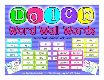 Dolch Word Wall {neon stripes!}