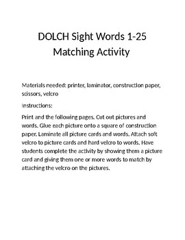 Dolch Words 1-25 Word to Picture Match Activity