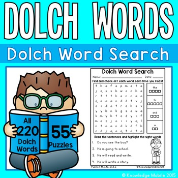 Dolch Word Search - 55 Puzzles for all 220 Dolch Words