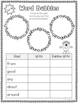 Sight Words Bundle Printables, Games and Flashcards First 100